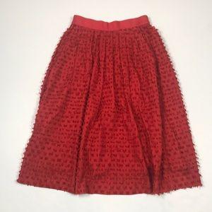 J.  Crew RED Midi Skirt in Clip Dot. Size 0.